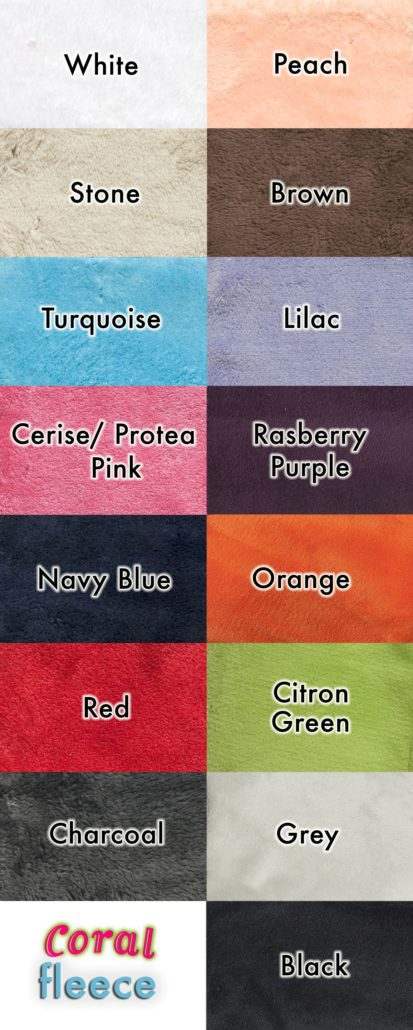 Fleece gowns colour swatch